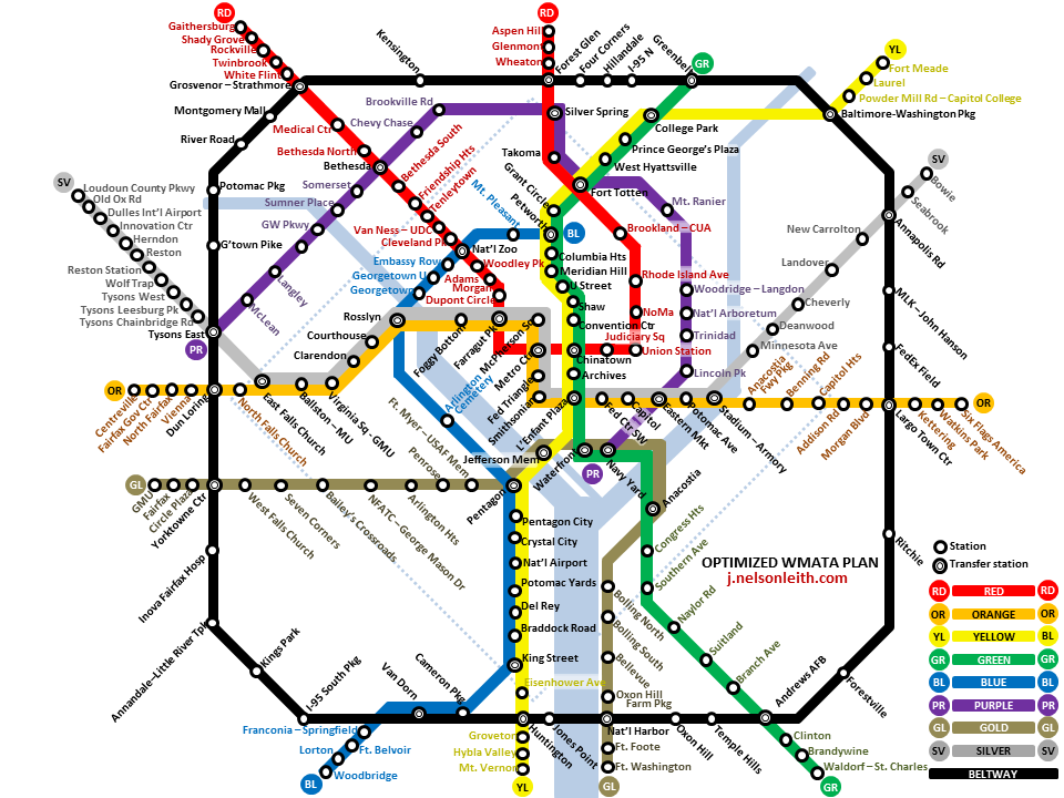 Fantasy Washington Metro Map By J Nelson Leith Wmata Transit Map