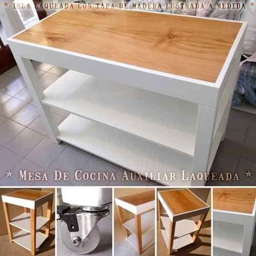 Mesa Auxiliar Isla De Cocina Laqueada Blanca Arrime Mesada   Ideas ...