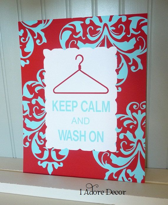 Art Print KEEP CALM and WASH On Typography Modern Chic Laundry Room. $15.00, via Etsy.