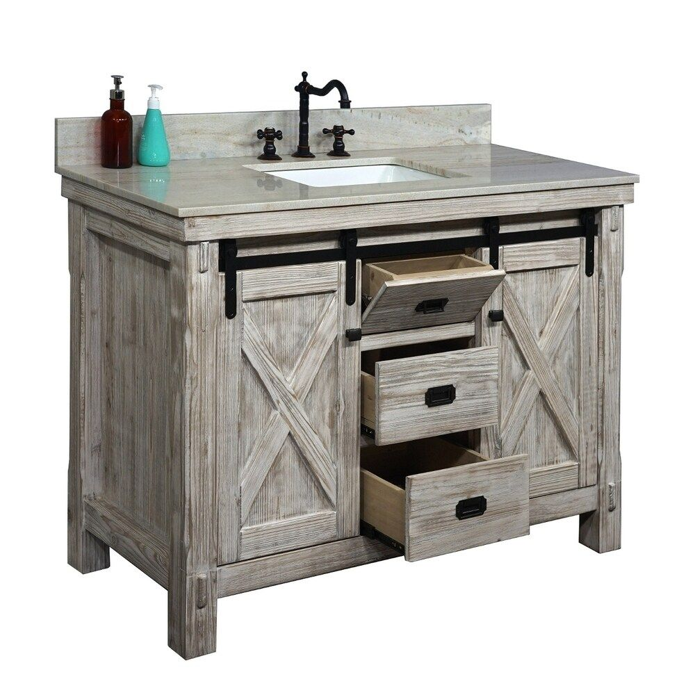 "49"" Rustic Solid Fir Barn Door Style Single Sink White"