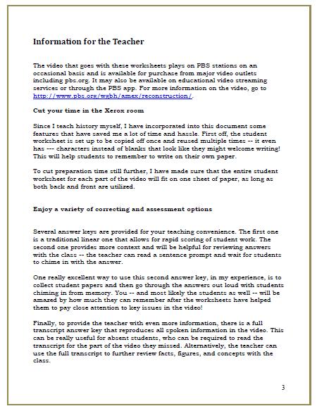 Reconstruction: The Second Civil War --- Video Cloze Worksheets ...