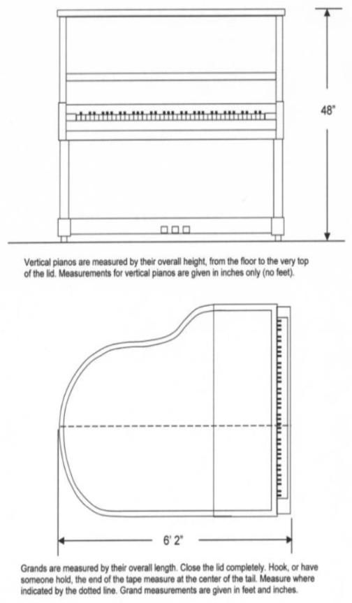 Piano size how to measure an upright or grand piano for What are the dimensions of an upright piano