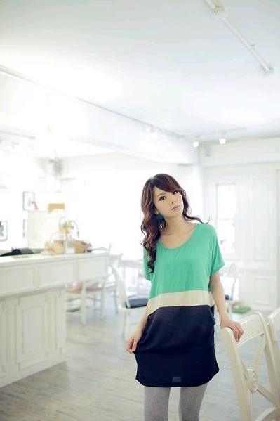 Green Striped Oversize Korean Fashionable T-Shirt Summer 2012/2013