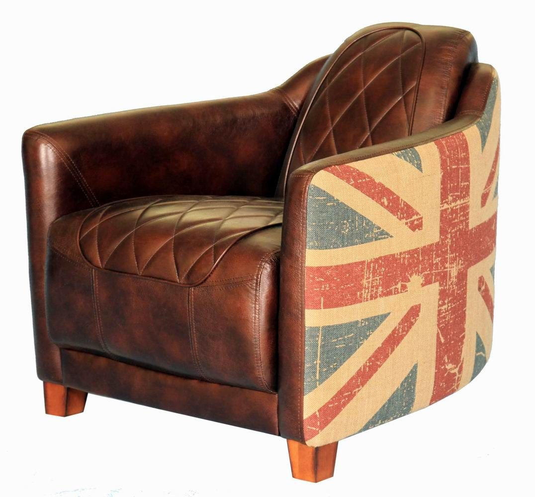 Antique leather armchair - Union Jack Chair Add Flair To Any Space With The Union Jack Vintage Bonded Leather