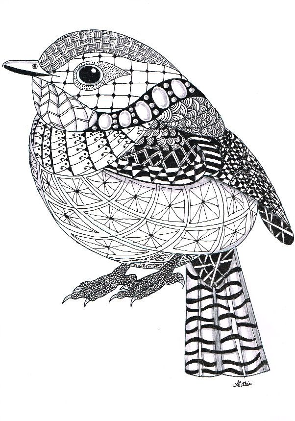 Bird Zentangle 15 Adult Coloring Pages