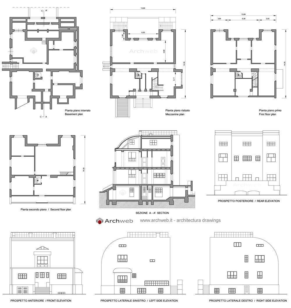 Steiner house 2D drawings | Architetti, Architettura