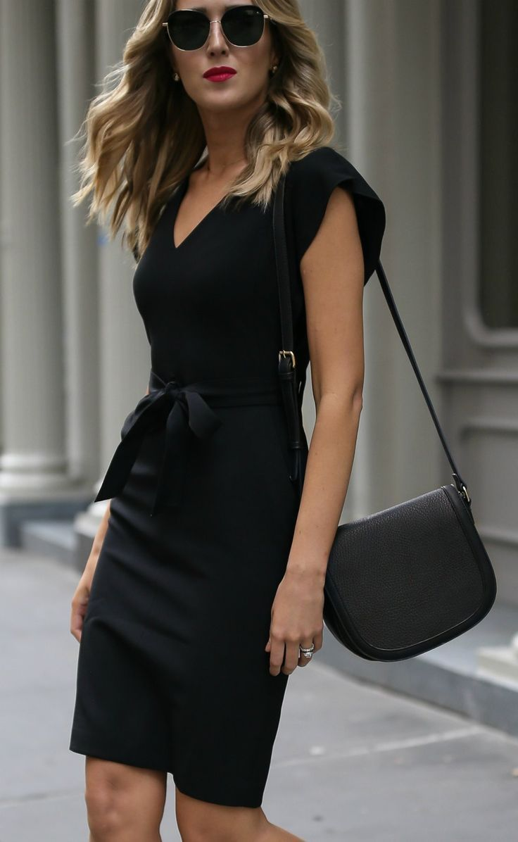 Click for outfit details classic black sheath dress ankle strap