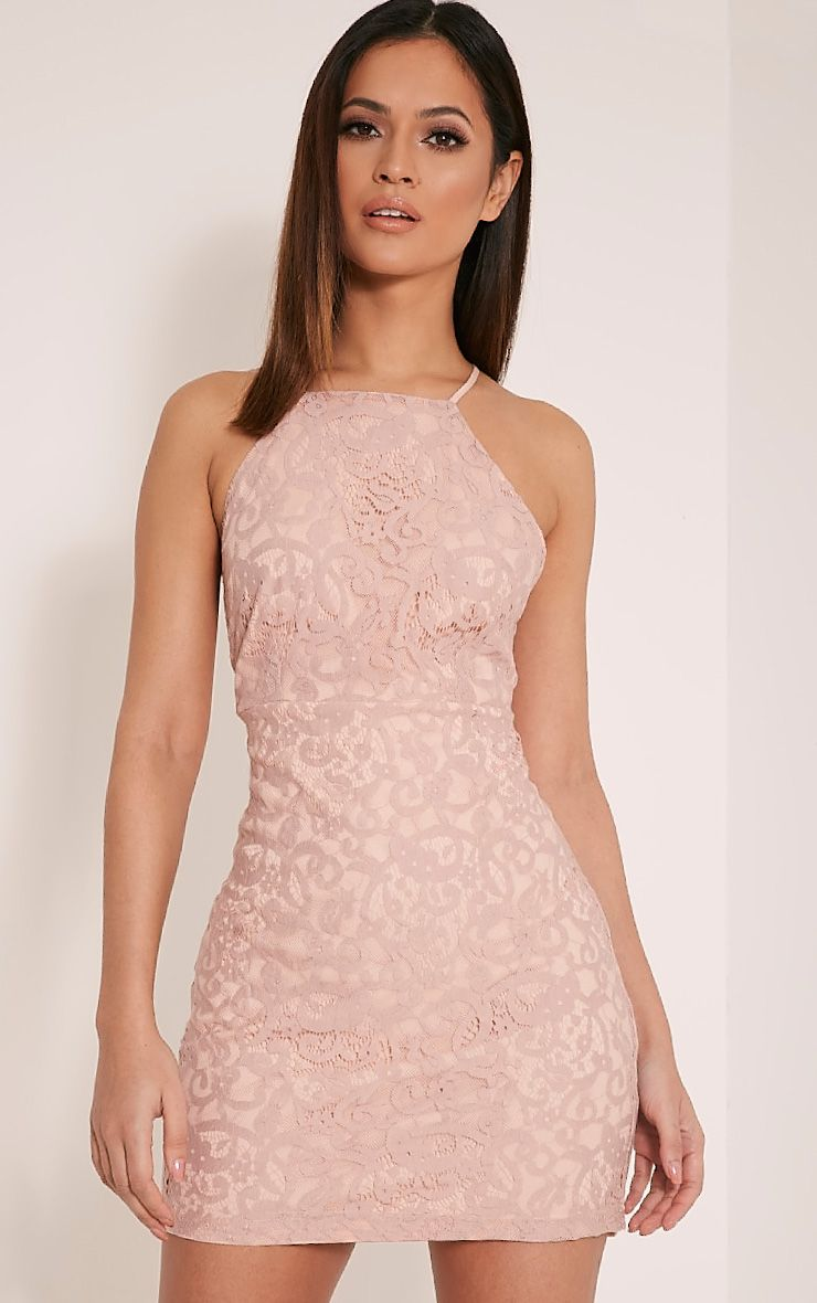 Elora Baby Pink Cross Back Lace Mini Dress | Prom | Pinterest | Mini ...