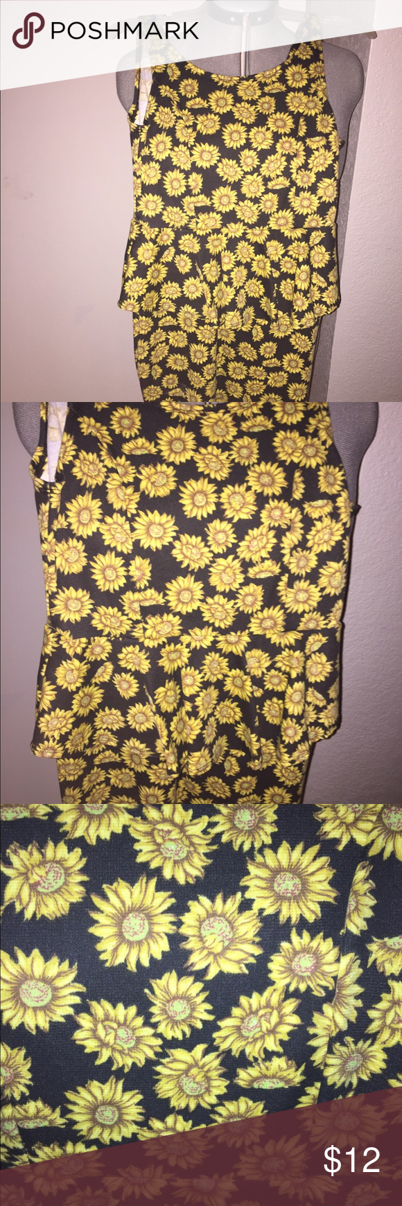 NWOT black & yellow peplum sunflower dress Fitted peplum dress with sunflowers all over. New without tags, never worn. Perfect for summer. 😊🌻 Chesley Dresses Mini