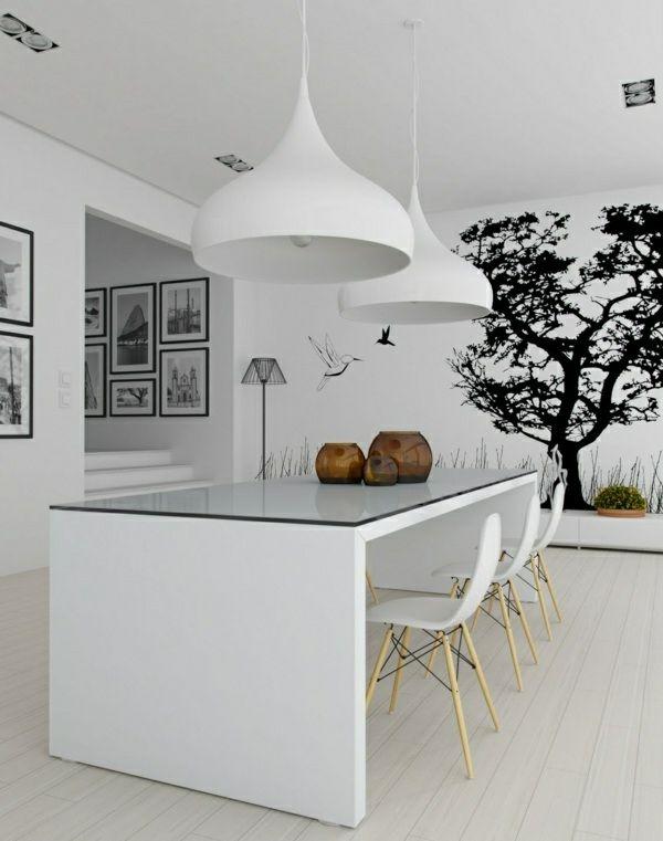 wandtattoo-im-esszimmer-wandgestaltung-wandsticker-weiß - Esszimmer Modern Weiss