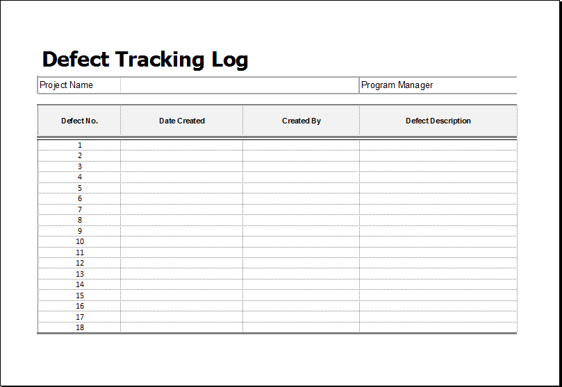 Defect Tracking Log Download At Http Www Xltemplates Org