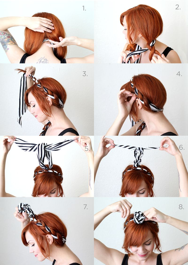Fabric Maiden Braids Tutorial A Beautiful Mess In 2020 Vintage Hairstyles For Long Hair Headband Hairstyles Rockabilly Hair