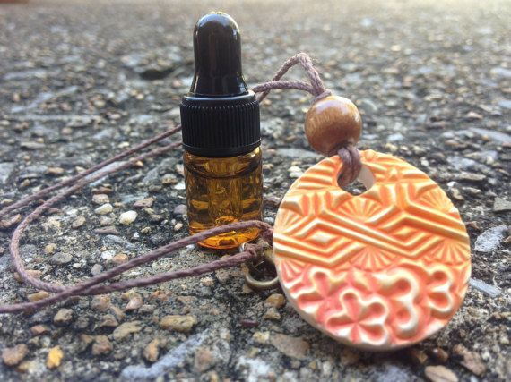 Essential Oil Diffuser Necklace Sacral Chakra by MtnLilyBotanicals