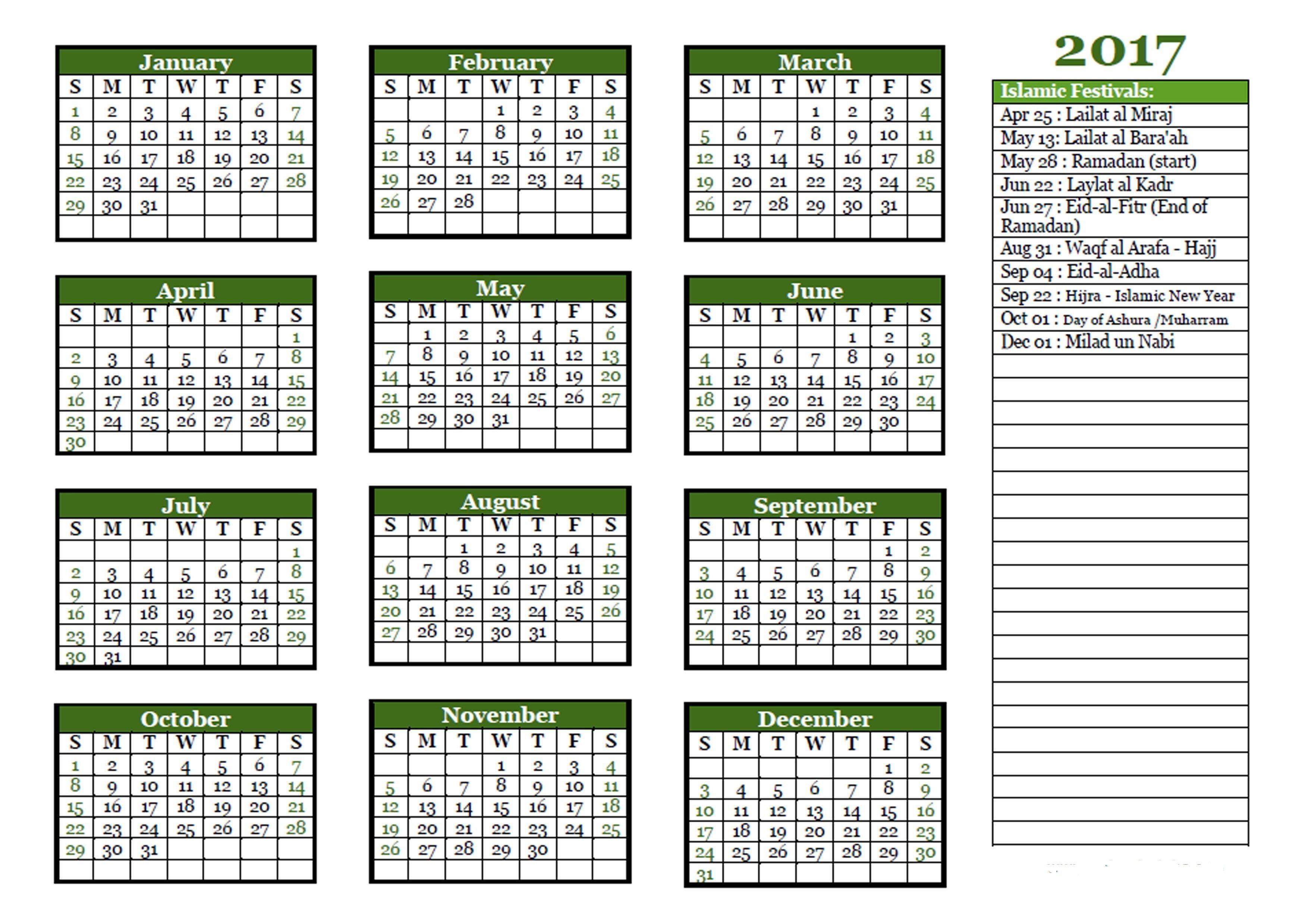 Islamic Calendar 1438