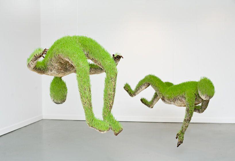 mathilde roussel: hanging living grass sculptures