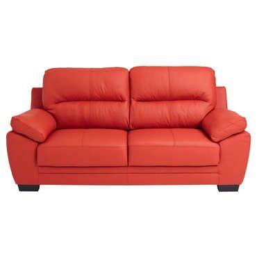 Canapé fixe 3 places en cuir VICTORIA 2 coloris rouge CONFORAMA