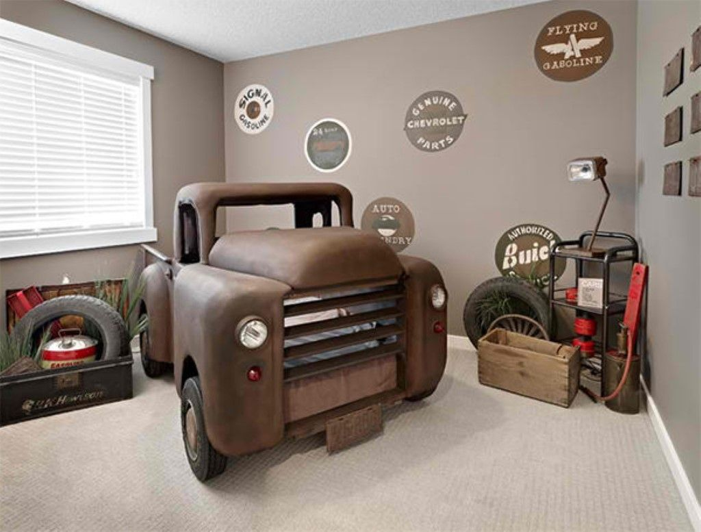 Cool Car Themed Bedroom Design Ideas For Your Boys Industrial Car Themed  Bedroom Decor Gray Color