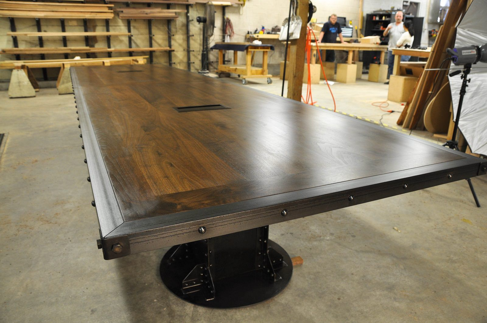 Dark Walnut Top I Beam Conference Table With Two 6 Port Data Ports The Steel Has Our Conference Table Vintage Industrial Furniture Industrial Style Furniture