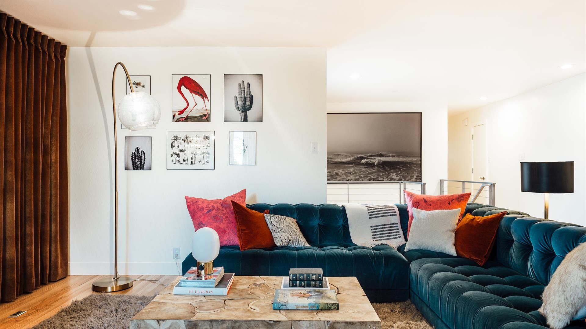 A modern, eclectic living room design | Clean with pops of color ...