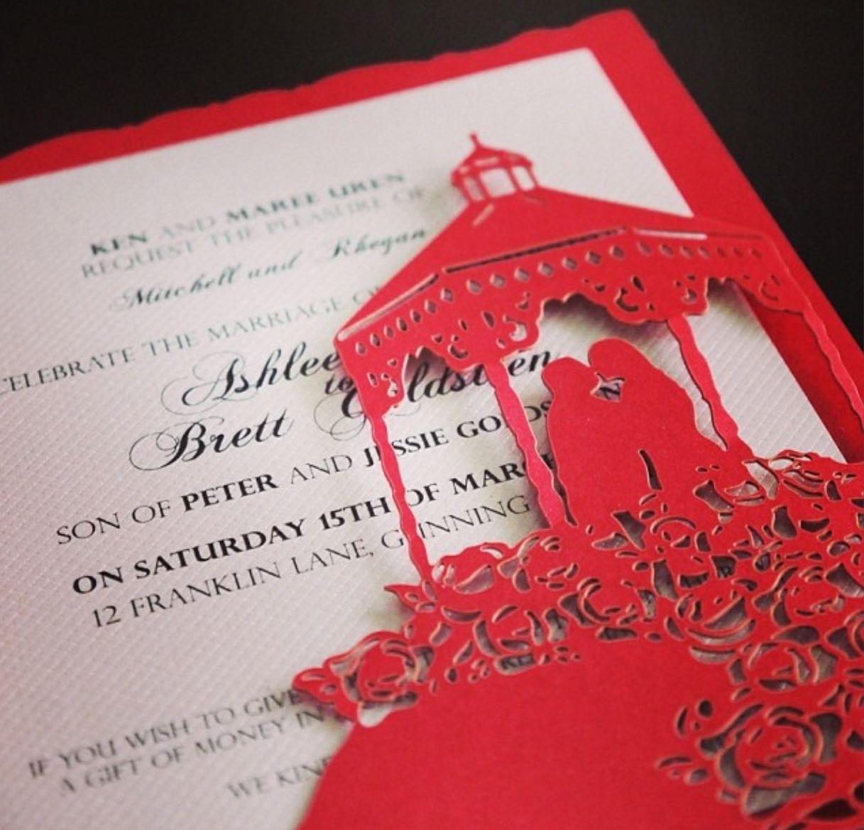 Sydney laser cut u0027Red Mapleu0027 wedding invitation