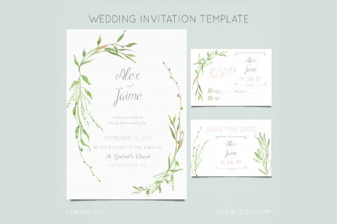 Leafy Wedding Invitation Template Free Design Resources Wedding Invitations Staples Wedding Invitations Wedding Invitations Examples