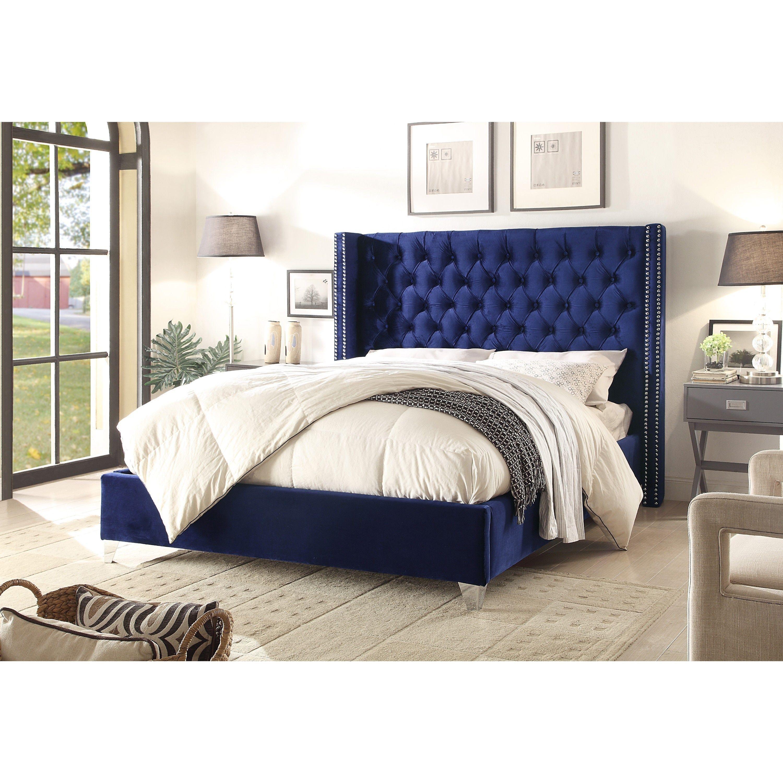 Aiden Navy Velvet Bed With Images Upholstered Platform Bed