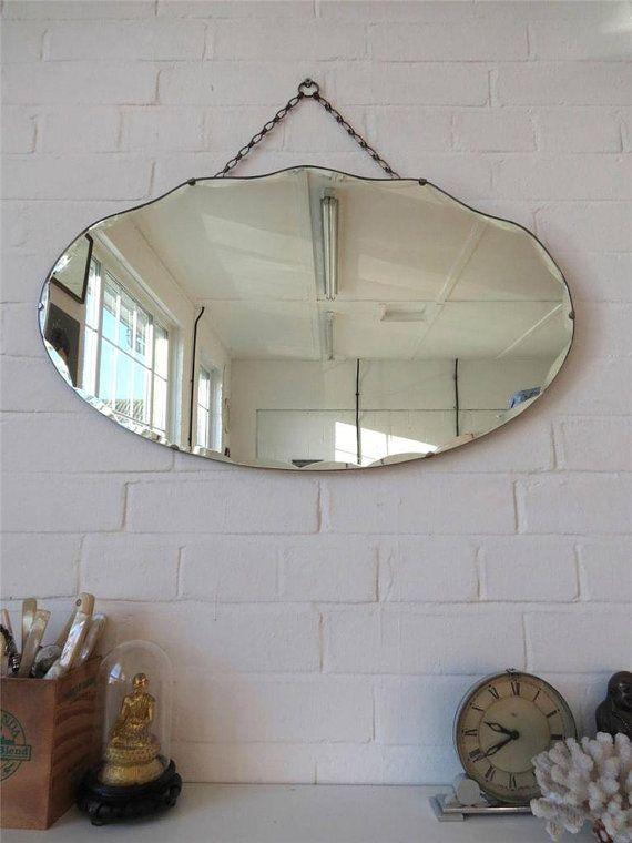Vintage Large Art Deco Bevelled Edge Wall Mirror Frameless Mirror Lovely Shape Vintage Mirror Wall Mirrors For Sale Art Deco Wall Mirror