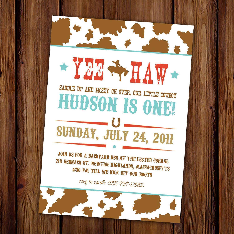 Rodeo Cowboy Birthday Invitation Hoedown Yee by ScriptivaPaper ...