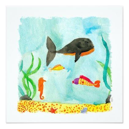 #fishing - #Watercolor Sea view with Whale and Seahorse Card
