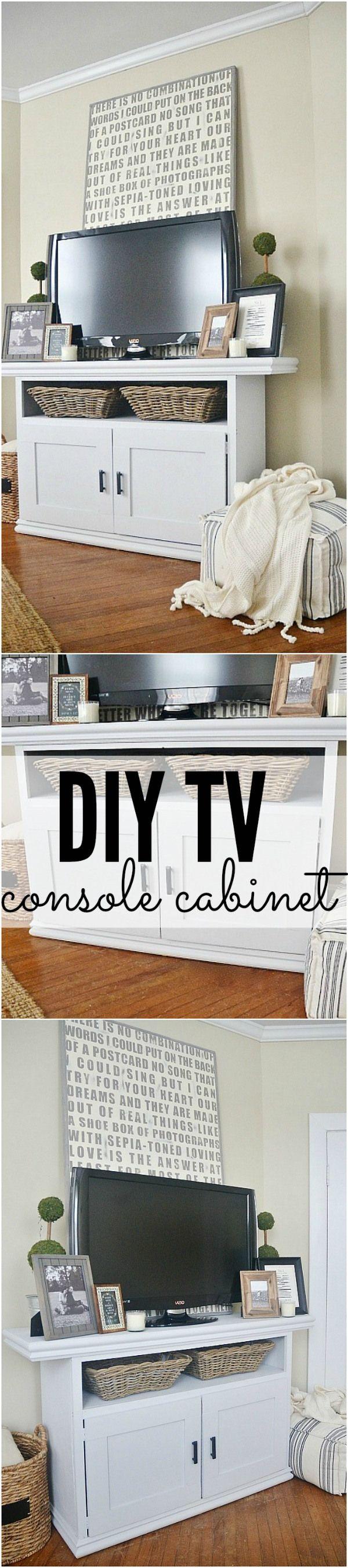 DIY TV Console Cabinet | Repurposed furniture, Tv console ...