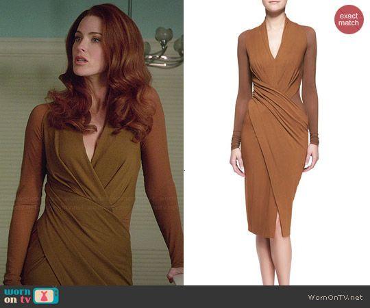 Donna Karan Cool Jersey Draped Long-Sleeve Dress worn by Bridget Regan on Jane the Virgin