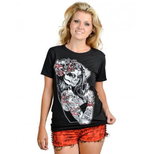 Too-Fast-Slashback-T-Shirt-Ann-Maria-Skull-Gun-Top-Pinup-Day-Of-The-Dead-Tattoo