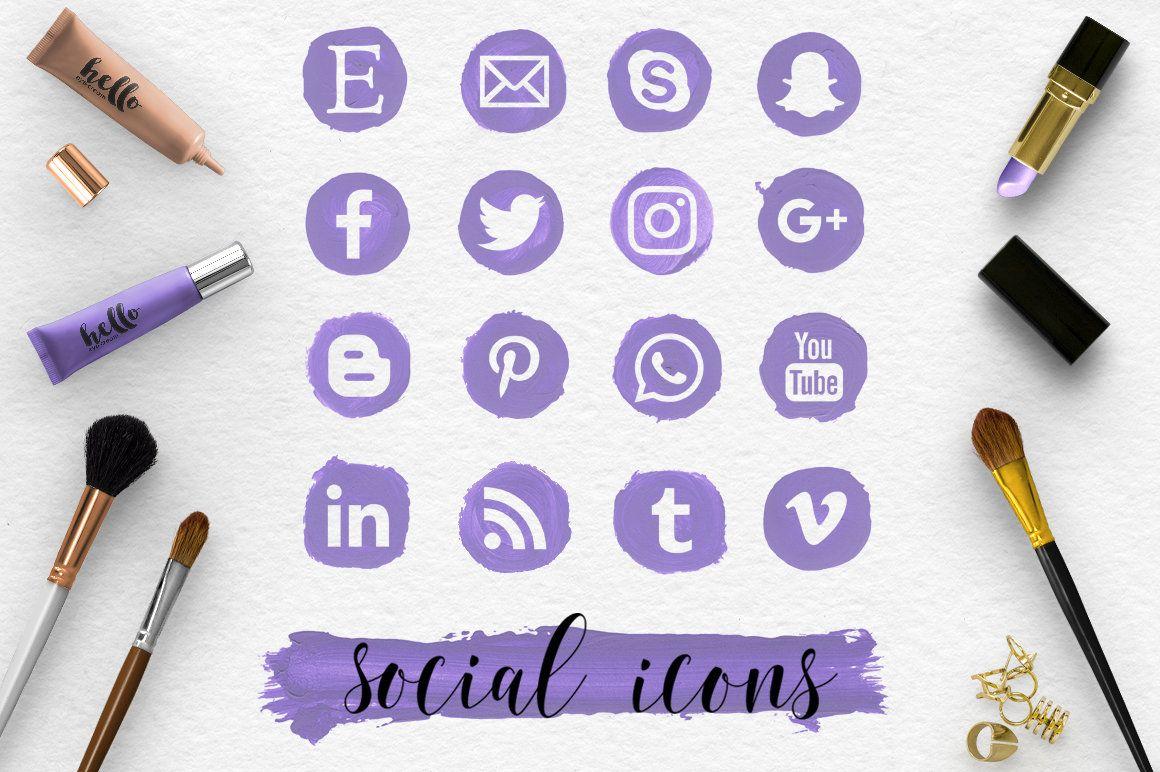 FOLLOW ME, Social Media Icons & Brush Stroke, Handpainted