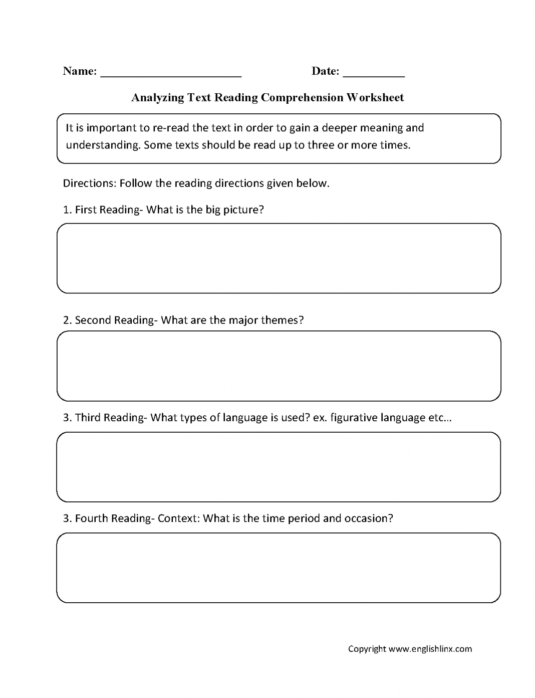 Reading Comprehension Worksheetsyzing Text Reading
