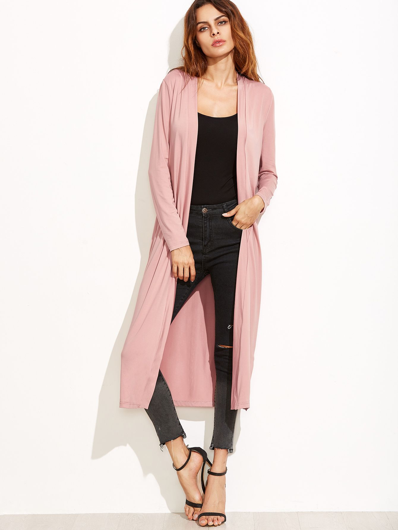 Shop Pink Collarless Longline Duster Coat online. SheIn offers Pink  Collarless Longline Duster Coat   more to fit your fashionable needs. 67da37c27d1f