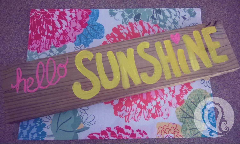 Hello Sunshine sign from Paisley Prints home designs #girlsroomdecor #hellosunshine #girlsroom #sunshinesign
