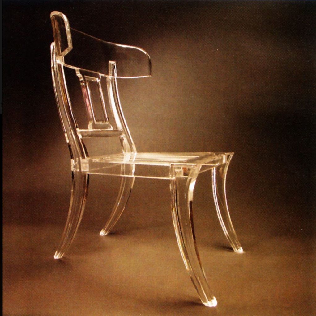 Klismos Chair  Klismos chair, Klismos, Acrylic furniture