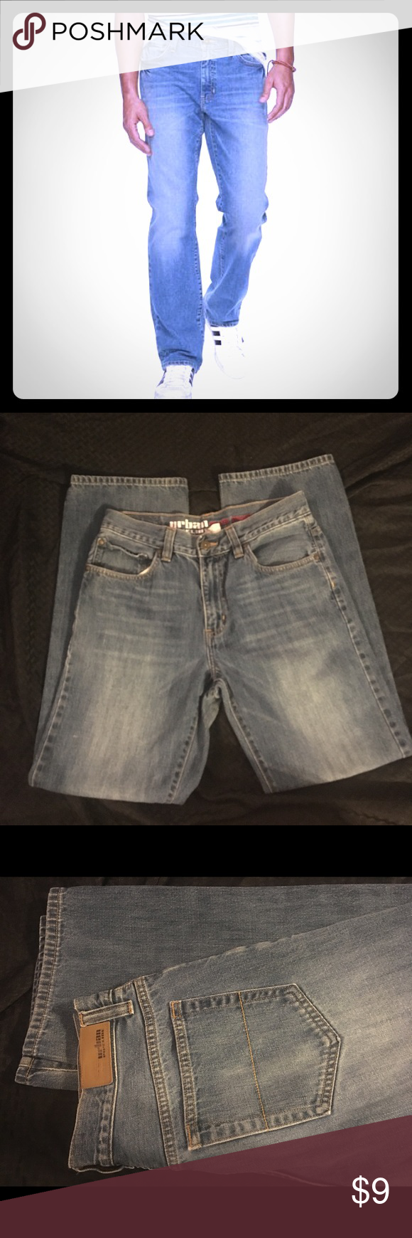 """Urban Pipeline Relaxed Straight Jeans size 32 Men's Urban Pipeline Relaxed Straight Jeans size 32.  Great condition and perfect for anything your day brings you.  100% cotton.  Rise 11 1/2"""", waist 15"""", inseam 30 1/2"""", bottom of leg opening 9 Urban Pipeline Jeans Relaxed"""