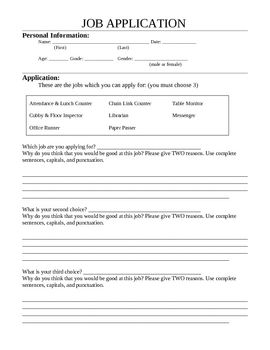 Classroom Job Application  Intermediate  TeacherspayteachersCom