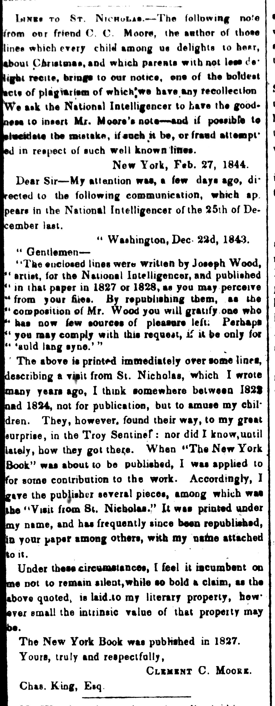 Clement C. Moore's published letter about his authorship