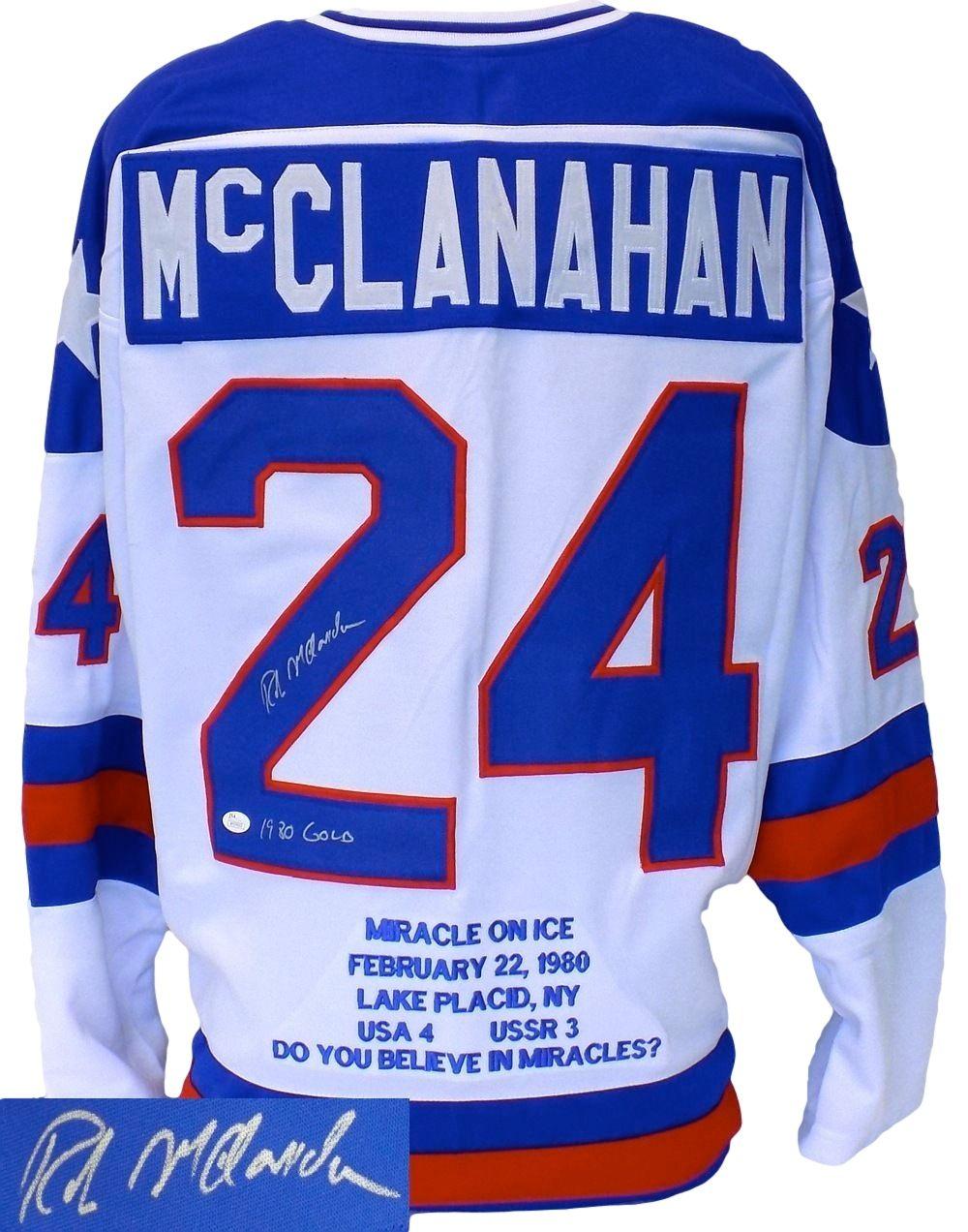 Rob Mcclanahan Signed Miracle On Ice Stat Hockey Jersey 1980 Gold Insc Jsa Sports Integrity Hockey Jersey Jersey Olympic Hockey
