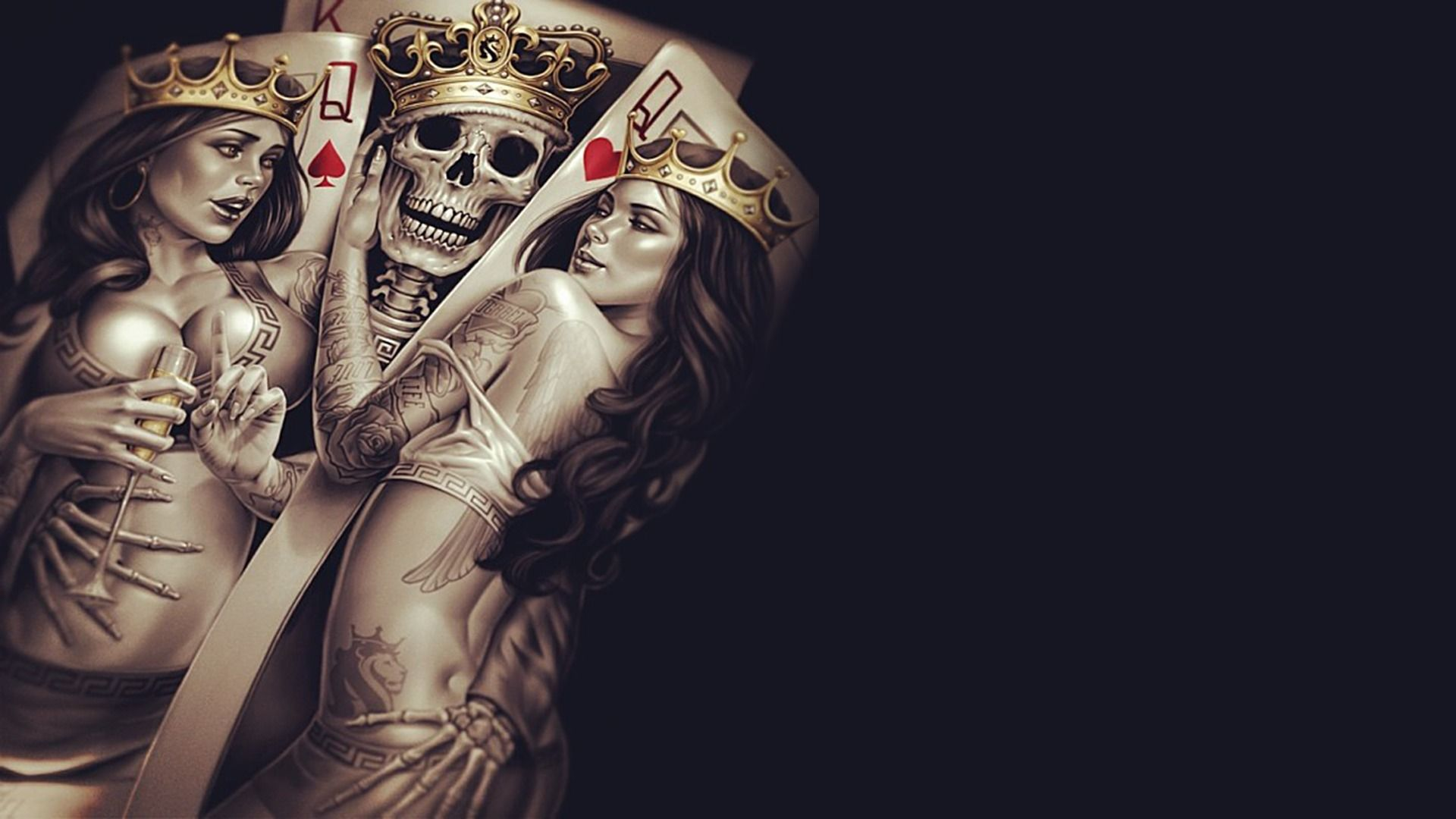 Wallpaper King Queen Crown Poker Tattoos Skull Bones Skeleton Cup Wallpapers Miscellanea Download Skull Wallpaper Inked Girls Digital Wallpaper