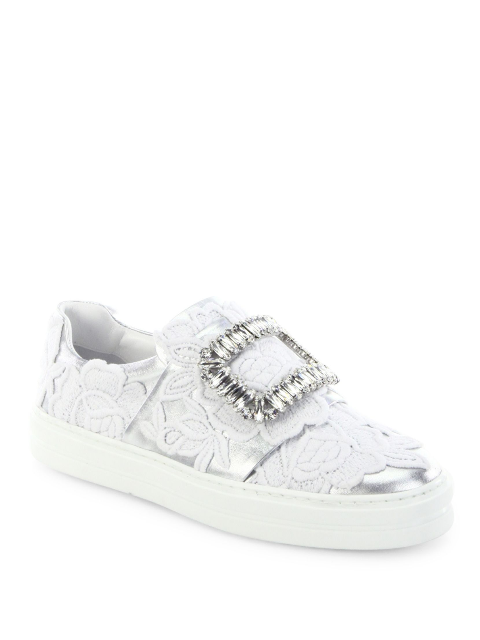Roger Vivier Sneaky Viv Crystal Buckle Lace-Embroidered Metallic Leather  Sneakers
