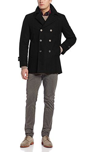 Tommy Hilfiger Men's Brady Double Breasted Peacoat, Black, 40/Regular ❤ Tommy Hilfiger Mens Outerwear Child Code
