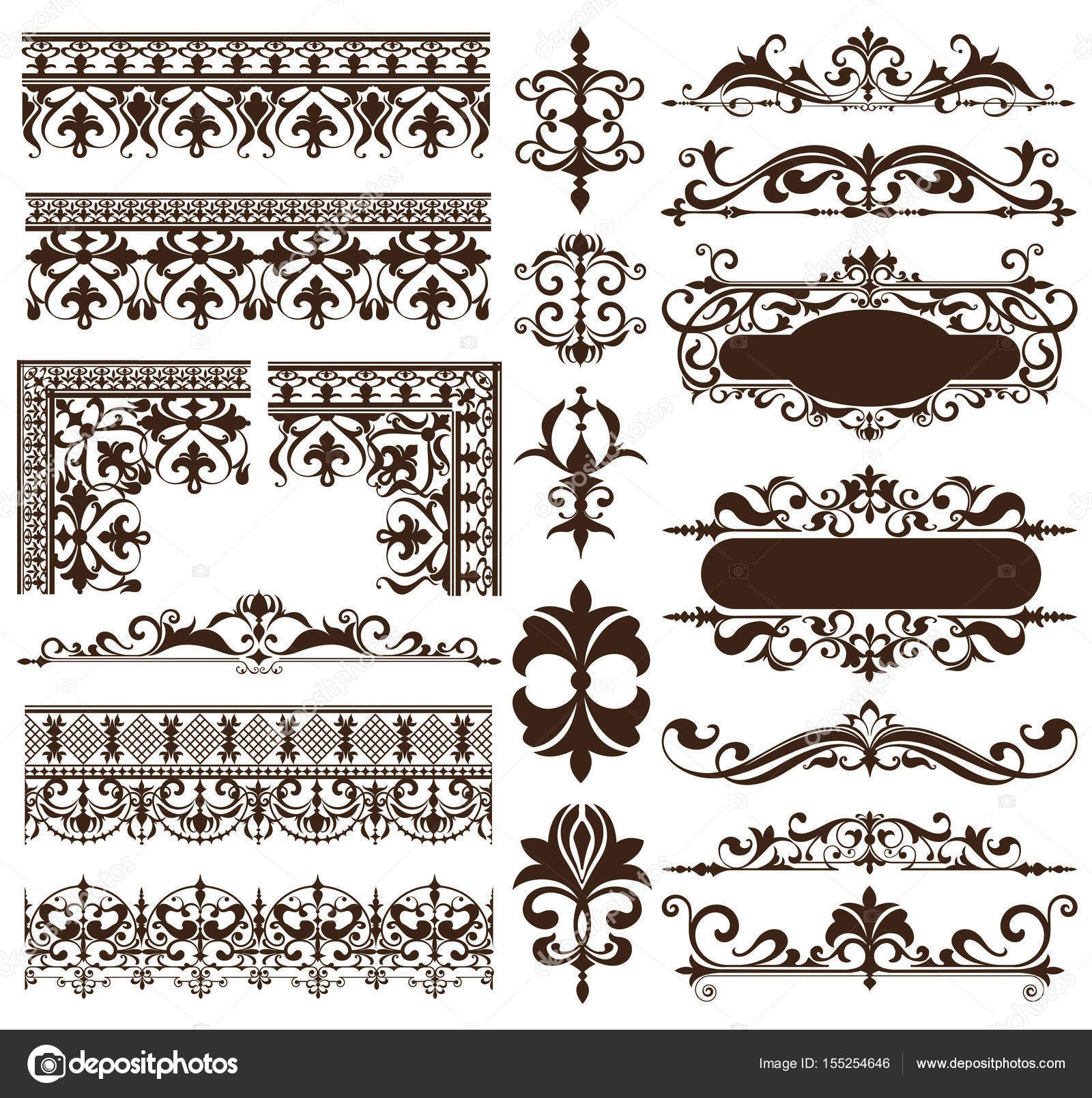 Download Art Deco Design Elements Of Vintage Ornaments And Borders Corners Of The Frame Isolated Art Vintage Ornaments Art Deco Illustration Art Deco Design