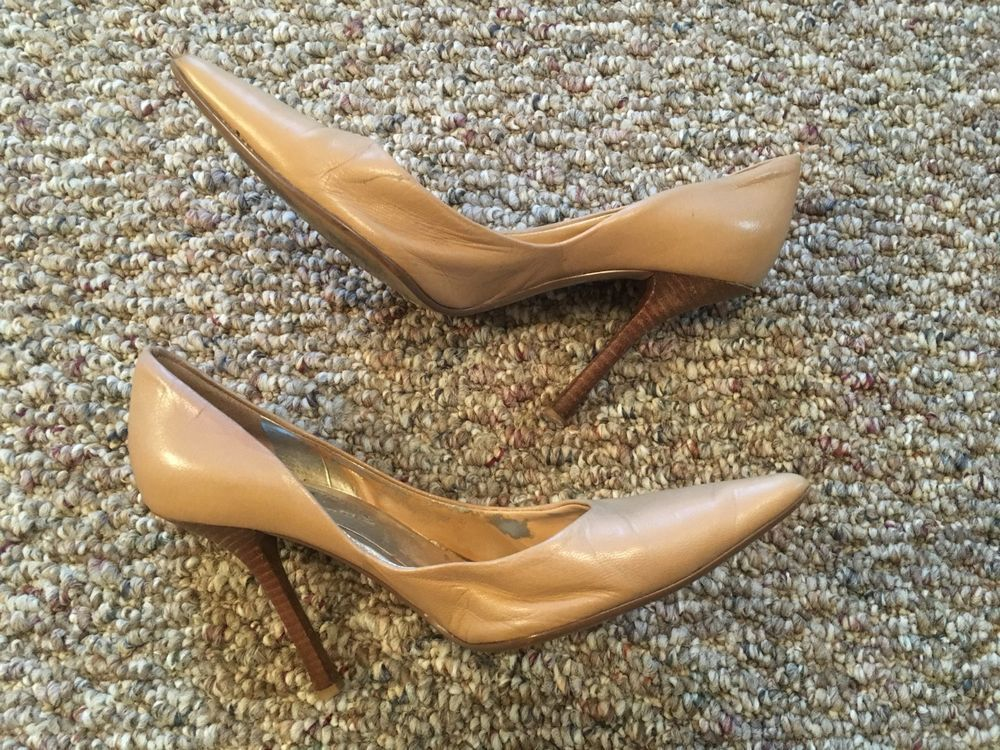 8dd29f4127a Guess Carrie Nude Leather Heels Stiletto Pumps Size 6.5M Used Worn ...