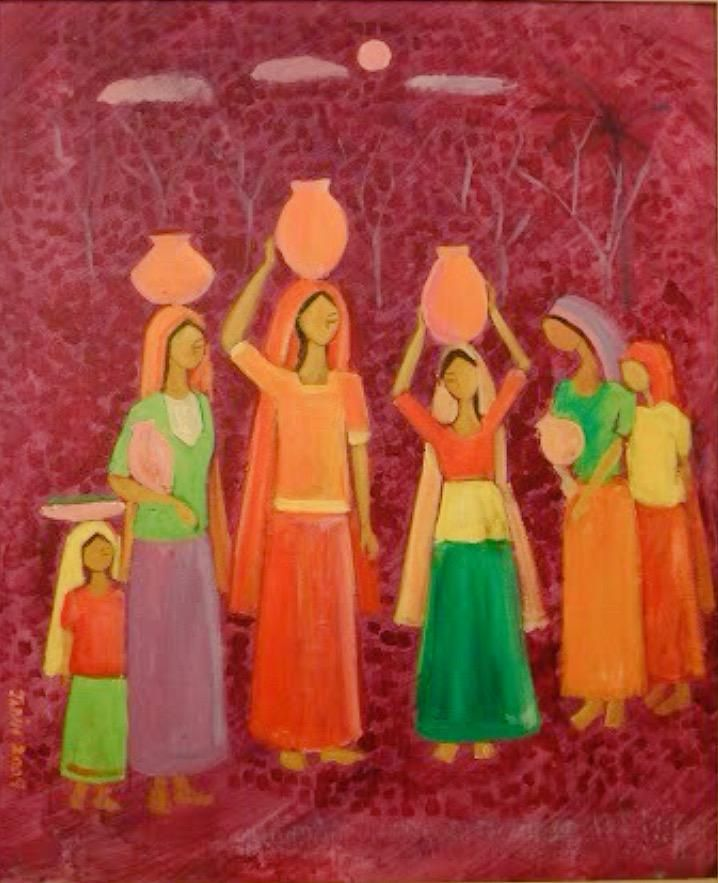 Mehrjabeen Iftikhar「Girls with water pitchers」