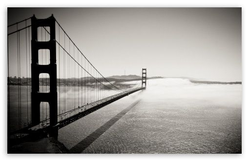 Golden Gate Bridge Black And White Hd Desktop Wallpaper Widescreen High Definition Fullscreen Golden Gate Golden Gate Bridge Black And White Wallpaper