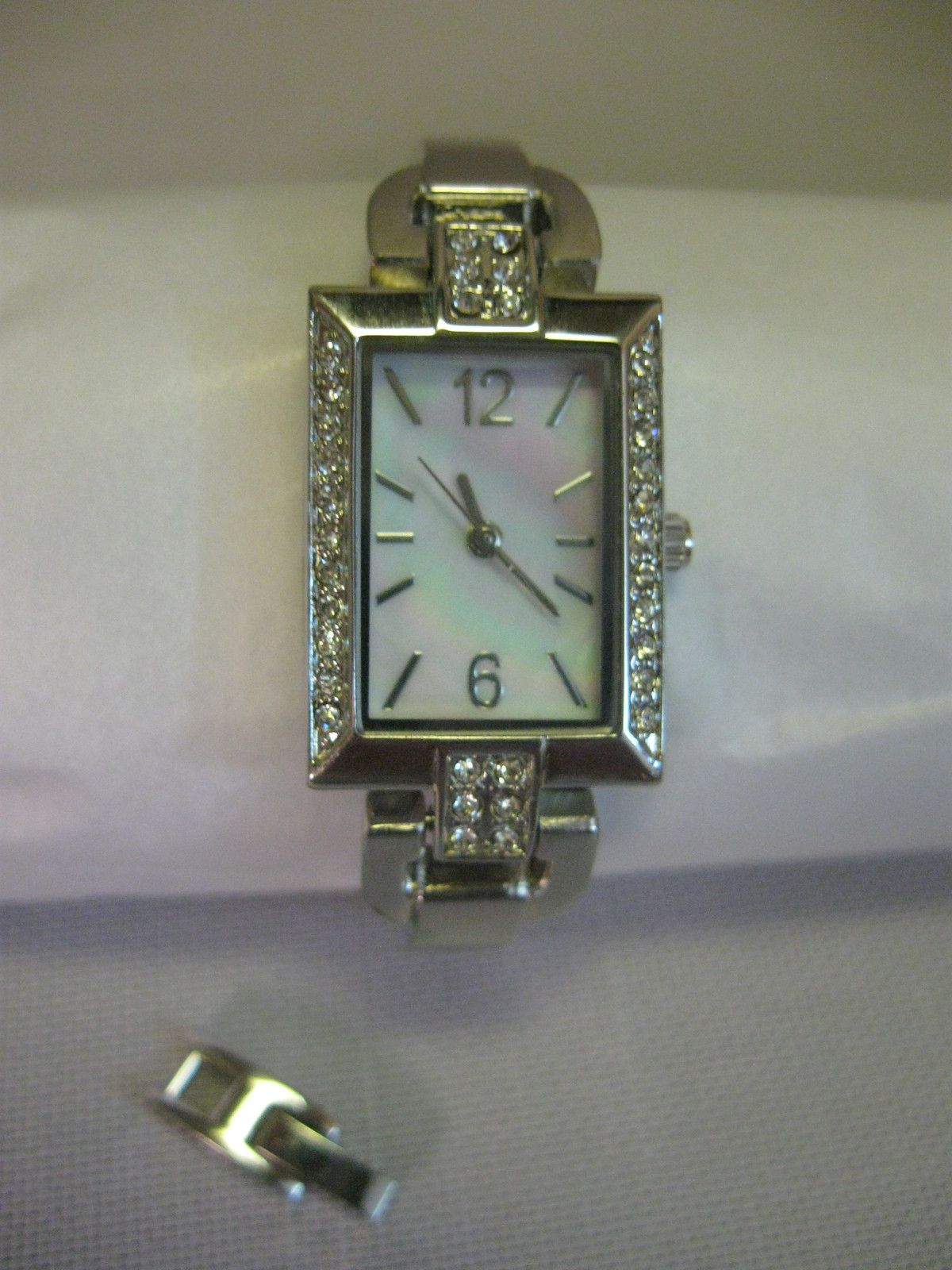 Ladies Cocktail Party Square Watch Silver Tone Rhinestones