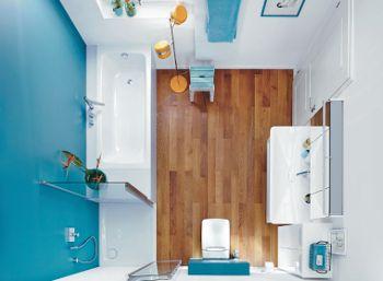 einrichtungsidee f r kleine b der mit badewanne und dusche cayono und superplan plus. Black Bedroom Furniture Sets. Home Design Ideas